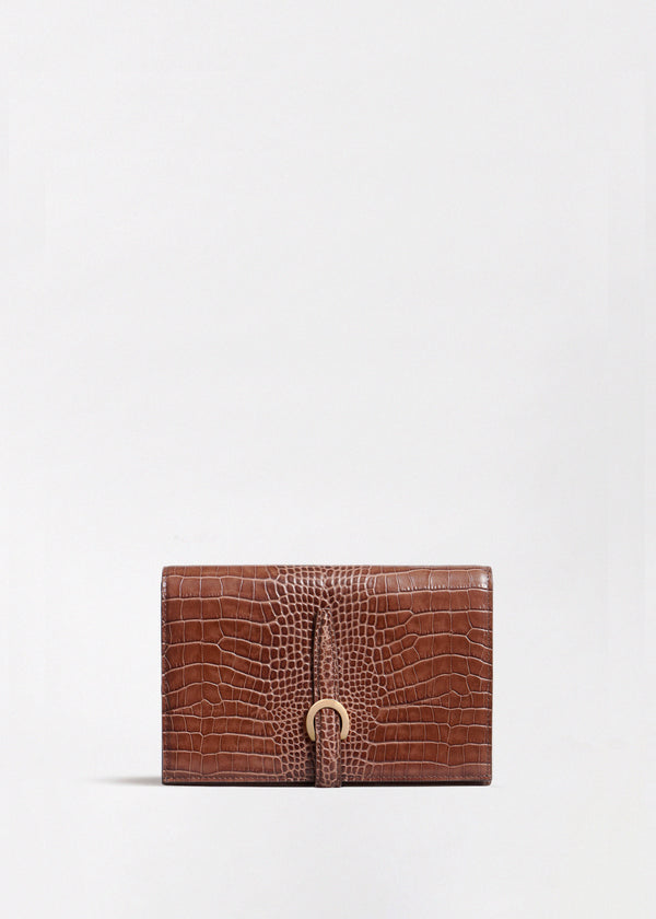 Strap Wallet in Embossed Leather - Dark Brown - CO
