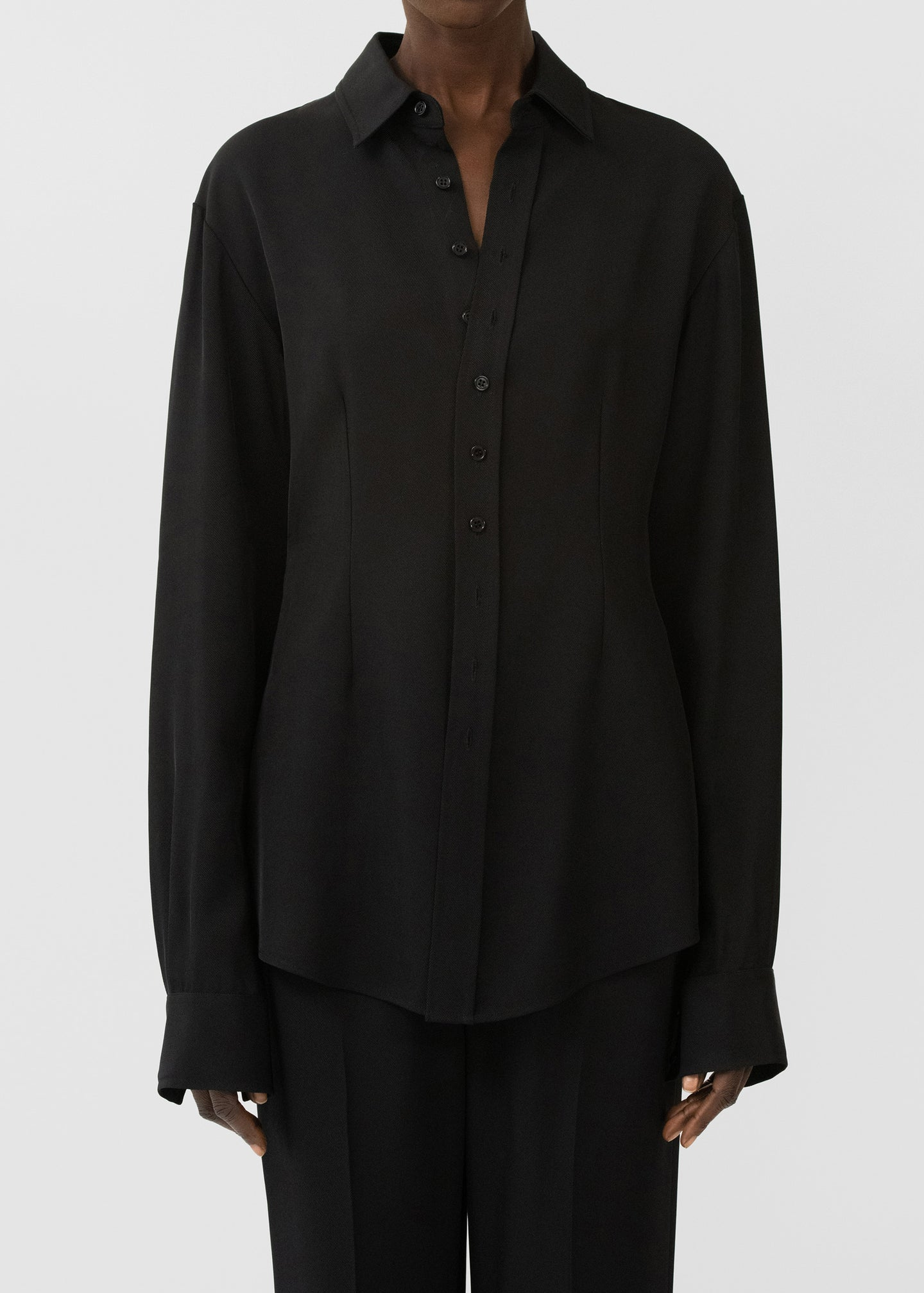 CO - Classic Button Front Blouse In Viscose Twill - Black