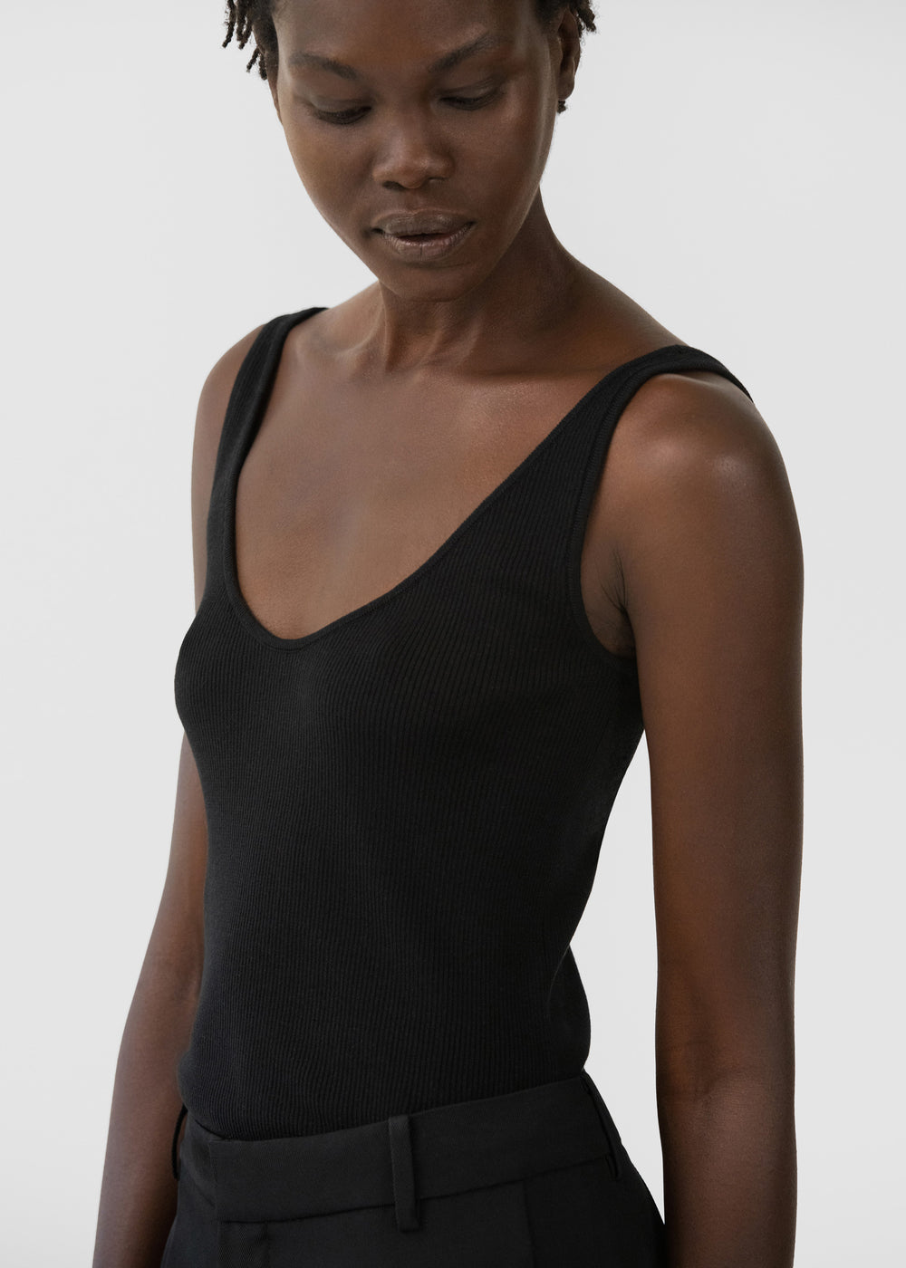 Ribbed Tank in Silk Knit - Taupe in Black by Co Collections