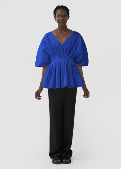 Tucked Waist V Neck Blouse In Cotton - Cobalt - CO