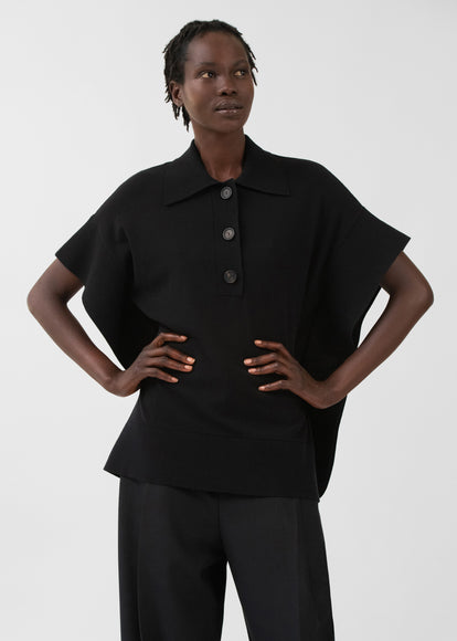 Flounce Hem Polo In Viscose Knit - Black - CO