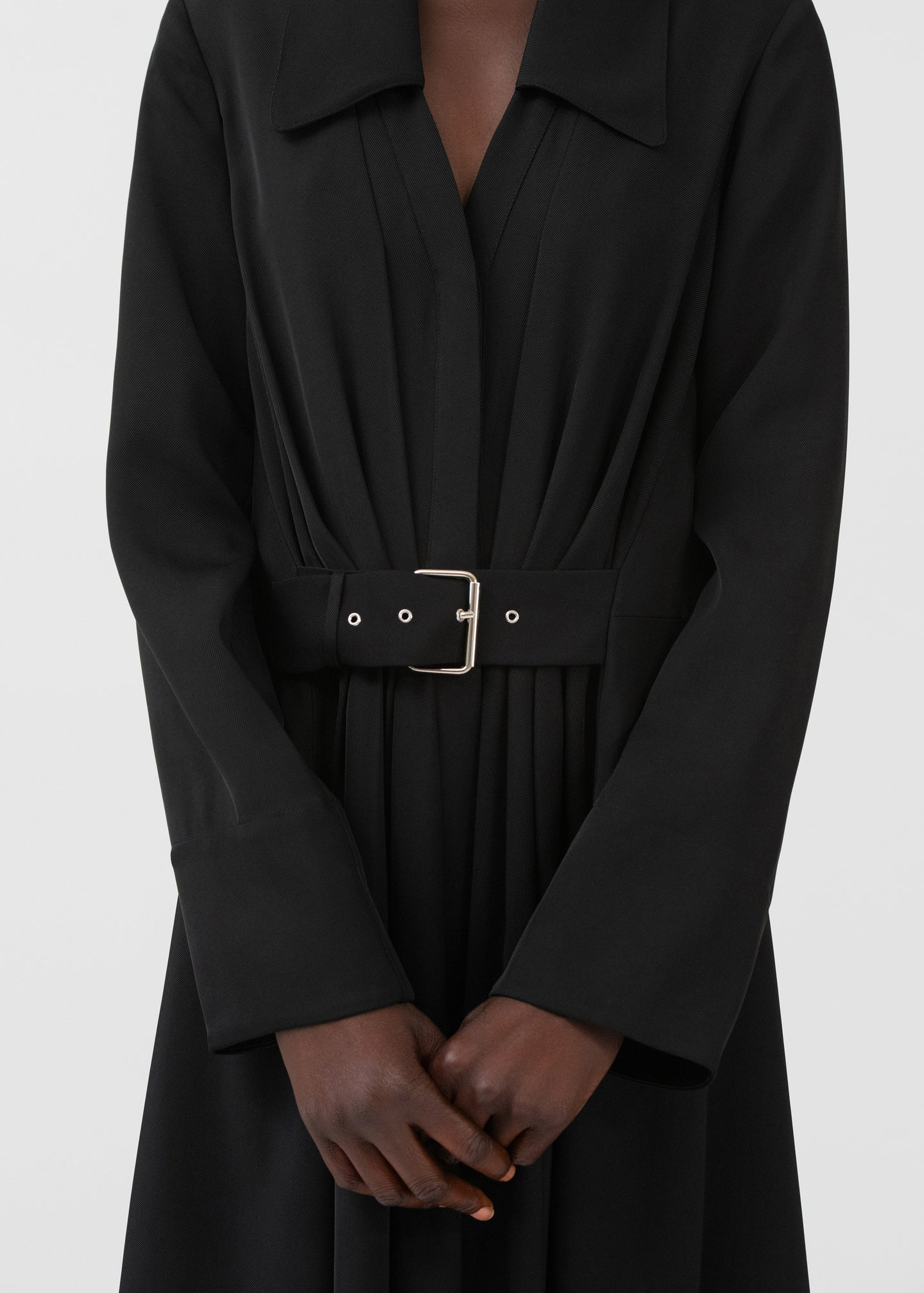 CO - Belted Shirt Dress In Viscose Twill - Black