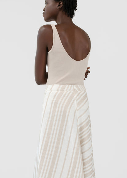 Ribbed Tank in Silk Knit - Taupe - CO