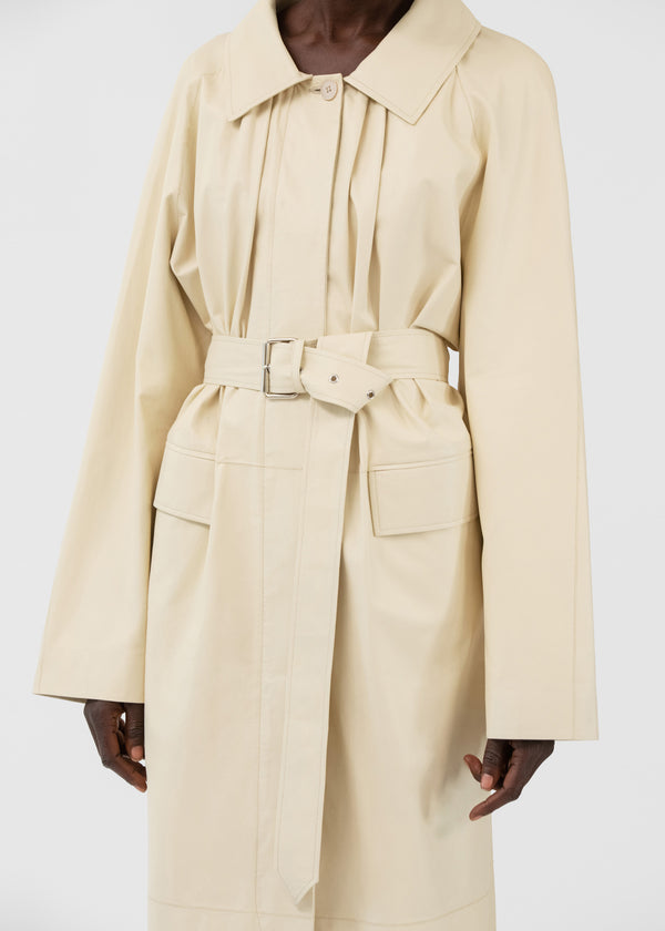 Belted Trench Coat in Leather - Cream - CO