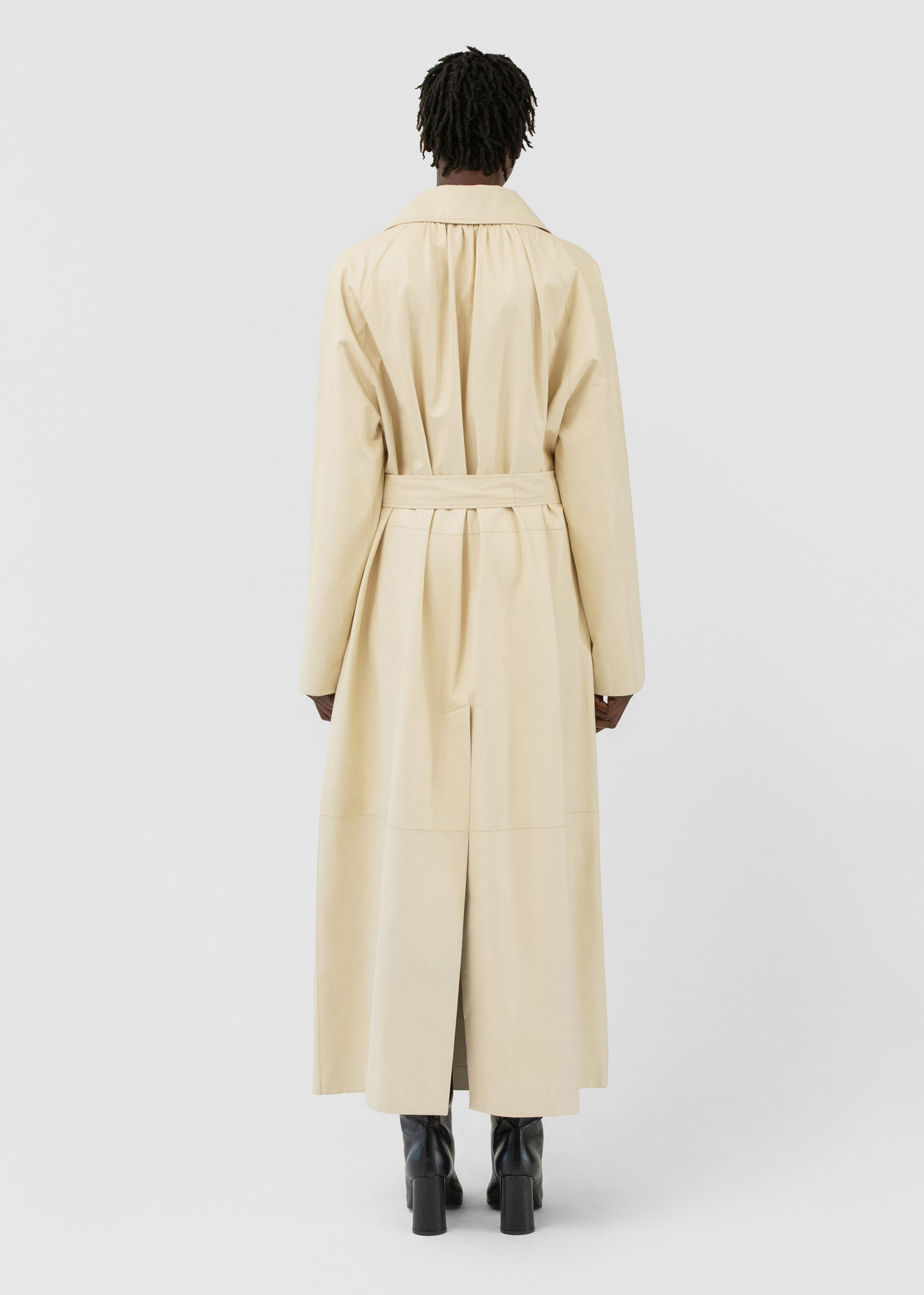 CO - Belted Trench Coat in Leather - Cream
