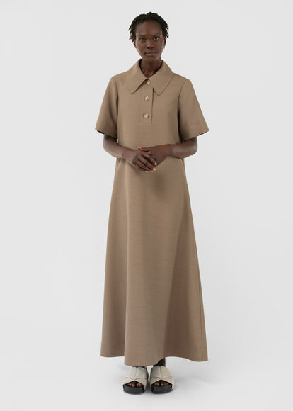 Short Sleeve Polo Dress In Viscose Wool - Taupe - CO