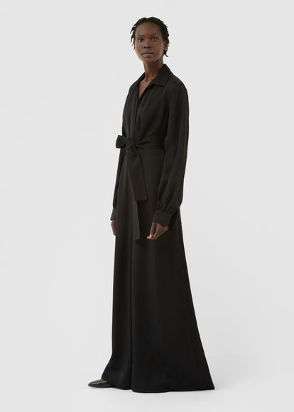 Long Sleeve Jumpsuit In Viscose Twill - Black - CO