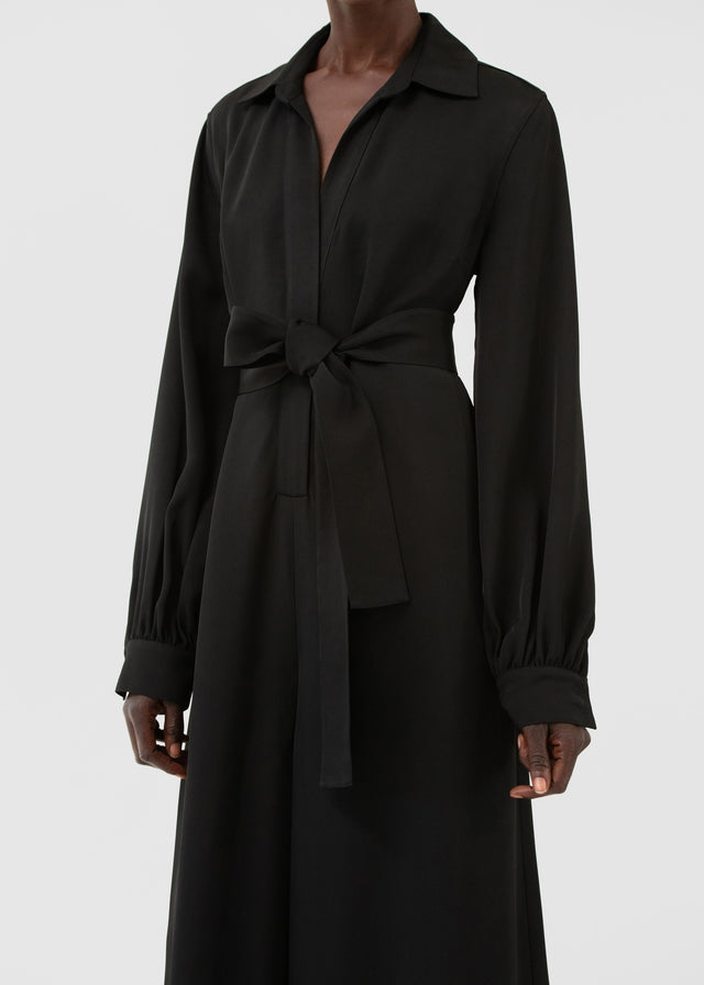 CO - Long Sleeve Jumpsuit In Viscose Twill - Black