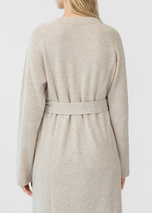 CO - Button Front Ribbed Cardigan In Wool Cashmere - Speckled Ecru