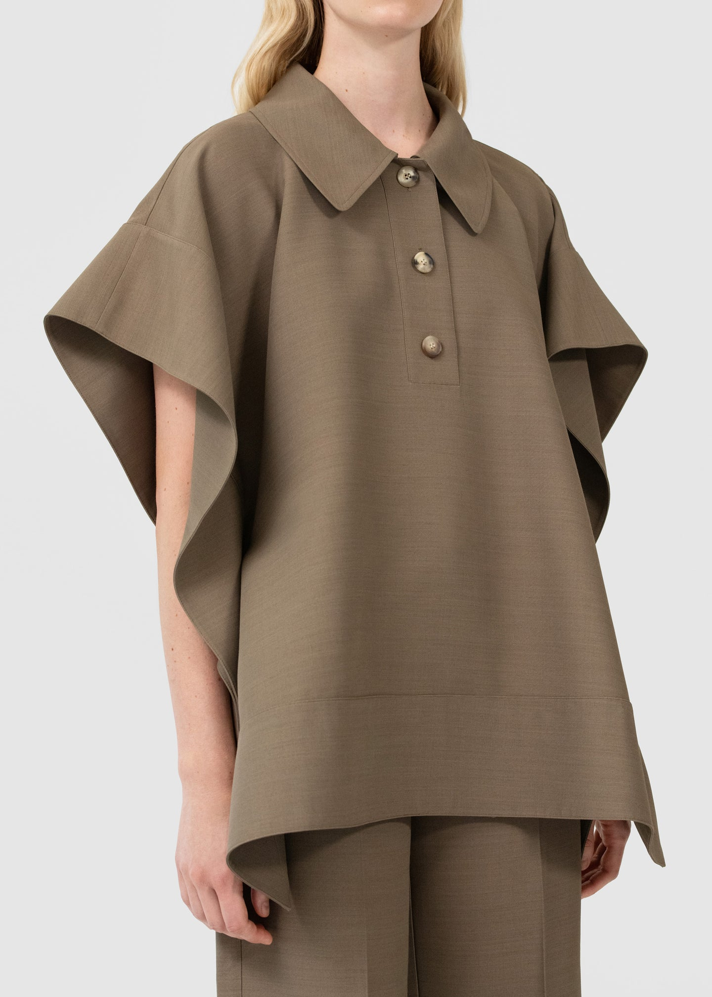 CO - Flounce Hem Polo In Viscose Wool - Taupe