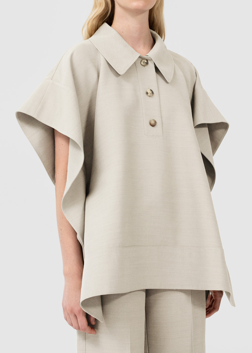 Flounce Hem Polo In Viscose Wool - Taupe in Ivory by Co Collections