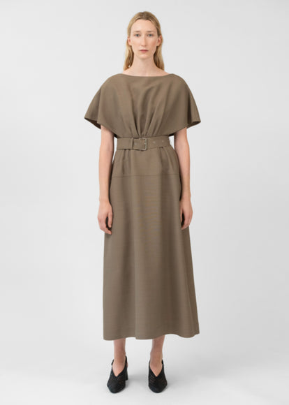 Belted Sheath Dress In Viscose Wool - Taupe - CO
