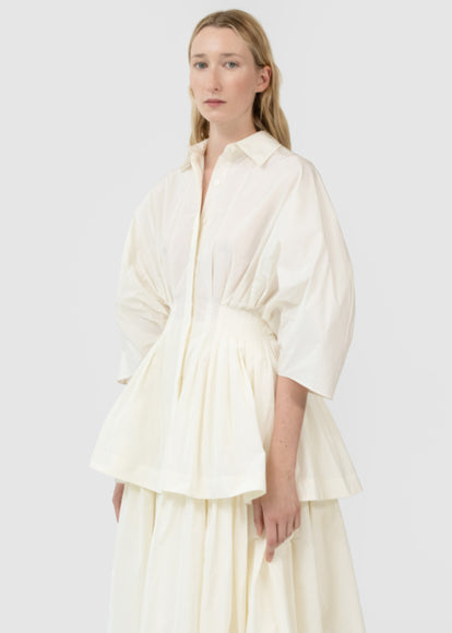Gathered Waist Button Front Blouse In Taffeta - Cream - CO
