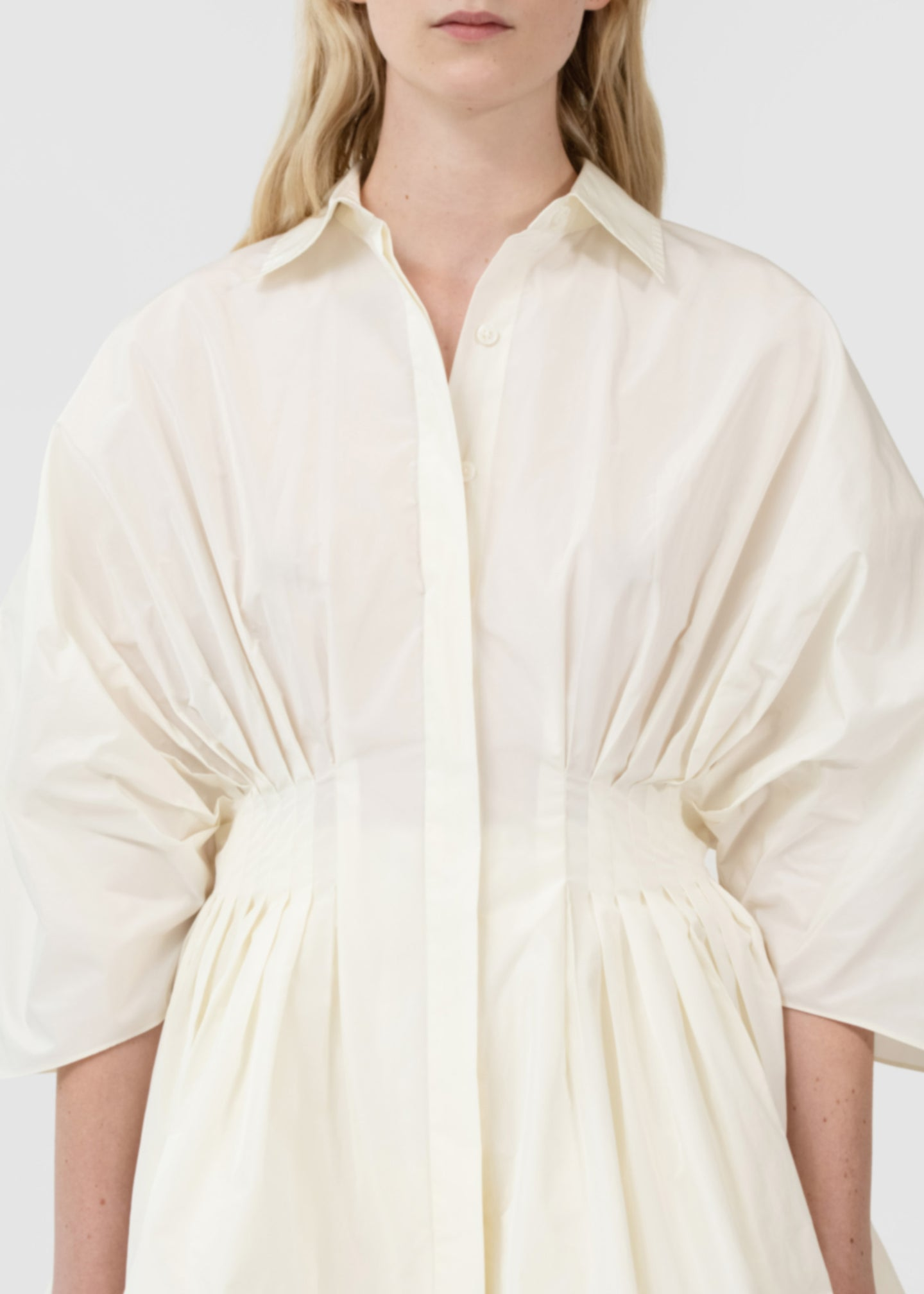 CO - Gathered Waist Button Front Blouse In Taffeta - Cream