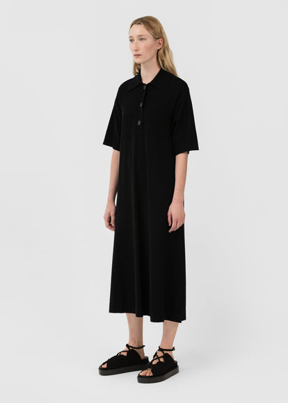 Short Sleeve Polo Dress In Viscose Knit - Black - CO