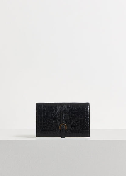 Strap Wallet in Embossed Leather - Black - CO