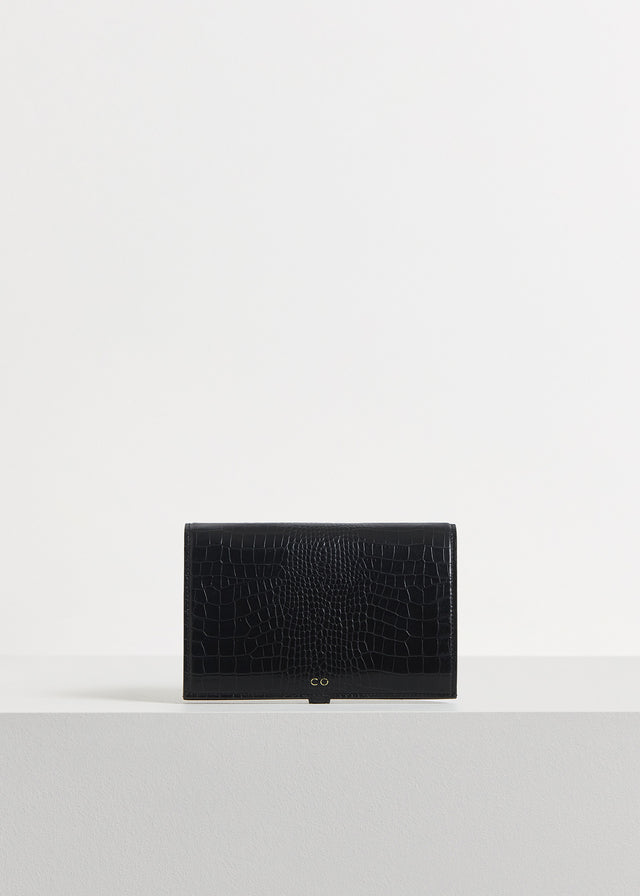 CO - Strap Wallet in Embossed Leather - Black