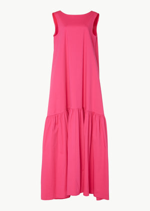 Low Back Gown in Stretch Sateen Cotton - Pink - Co Collections