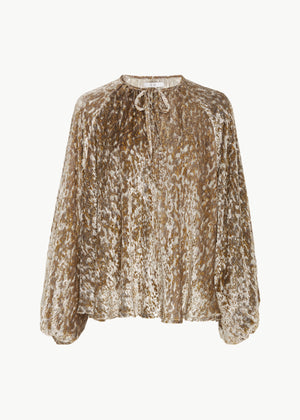 Peasant Blouse in Velvet - Gold - CO