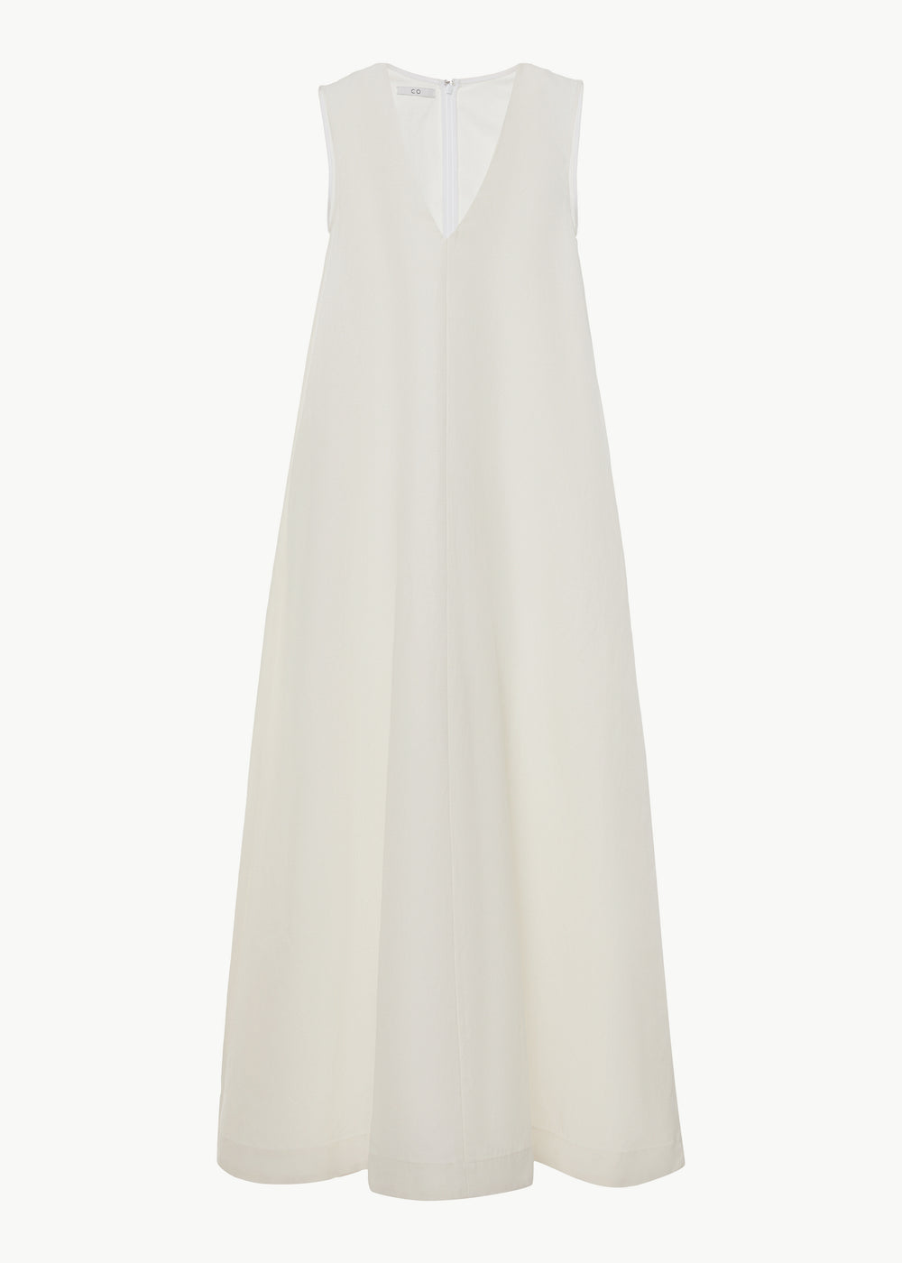 Sleeveless V Neck Dress in Cotton Linen - Ivory - CO