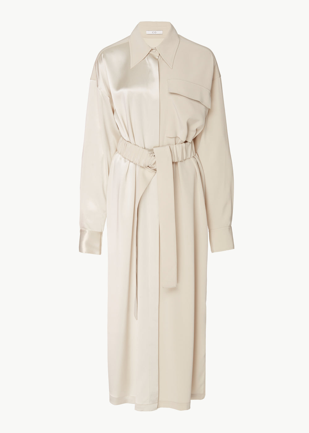 Belted Shirtdress in Stretch Crepe  - Champagne - CO