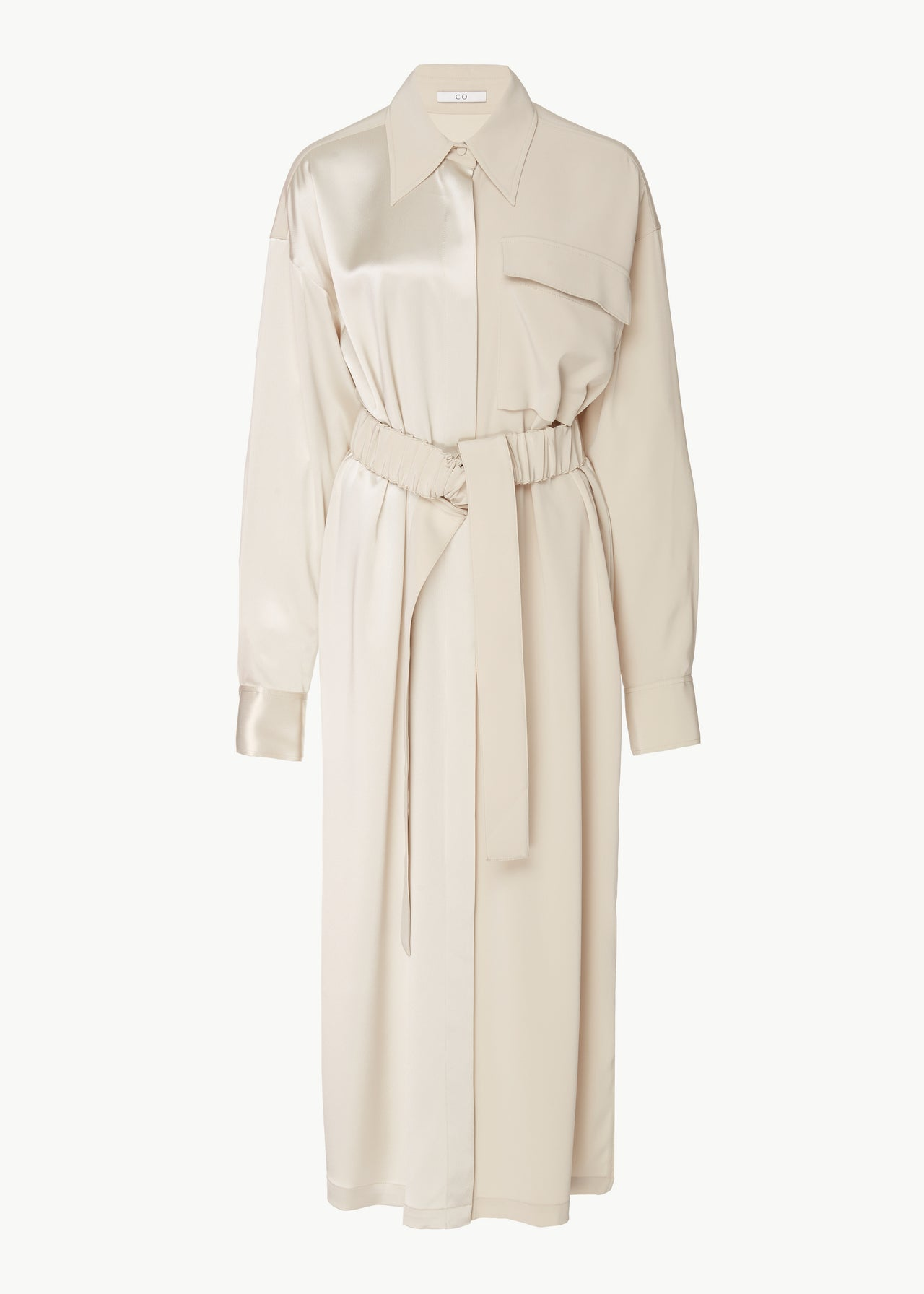 Belted Shirtdress in Stretch Crepe  - Champagne