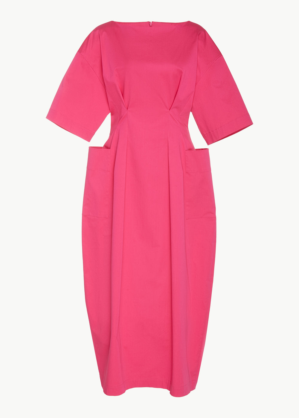 Short Sleeve Tucked Waist Dress in Stretch Sateen Cotton - Pink - CO