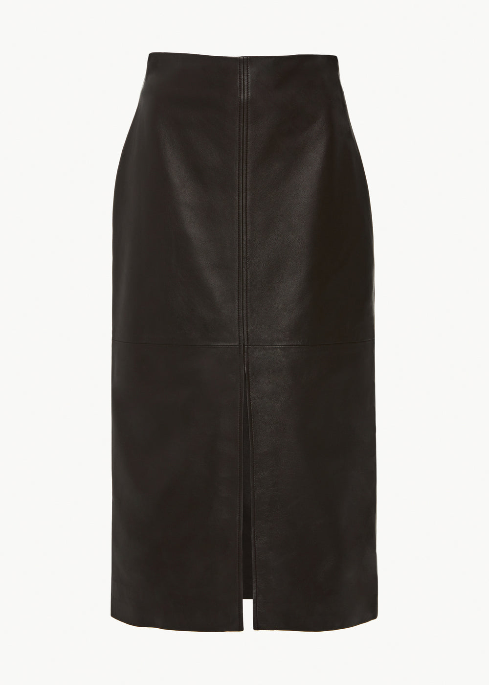 Front Slit Skirt in Leather - Brown - CO