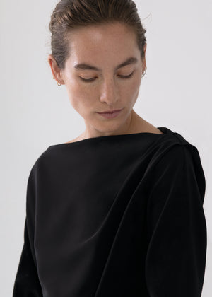 Draped Top in Stretch Crepe - Black - CO
