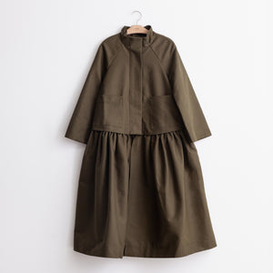 CO - Oversized convertible coat with detachable bottom in olive heavy twill