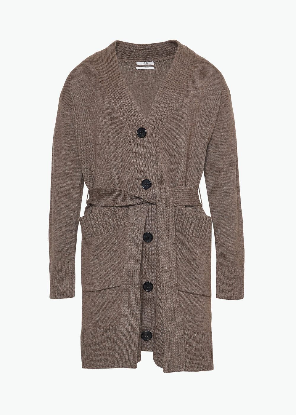 Belted Cardigan in Wool Cashmere - Walnut - CO