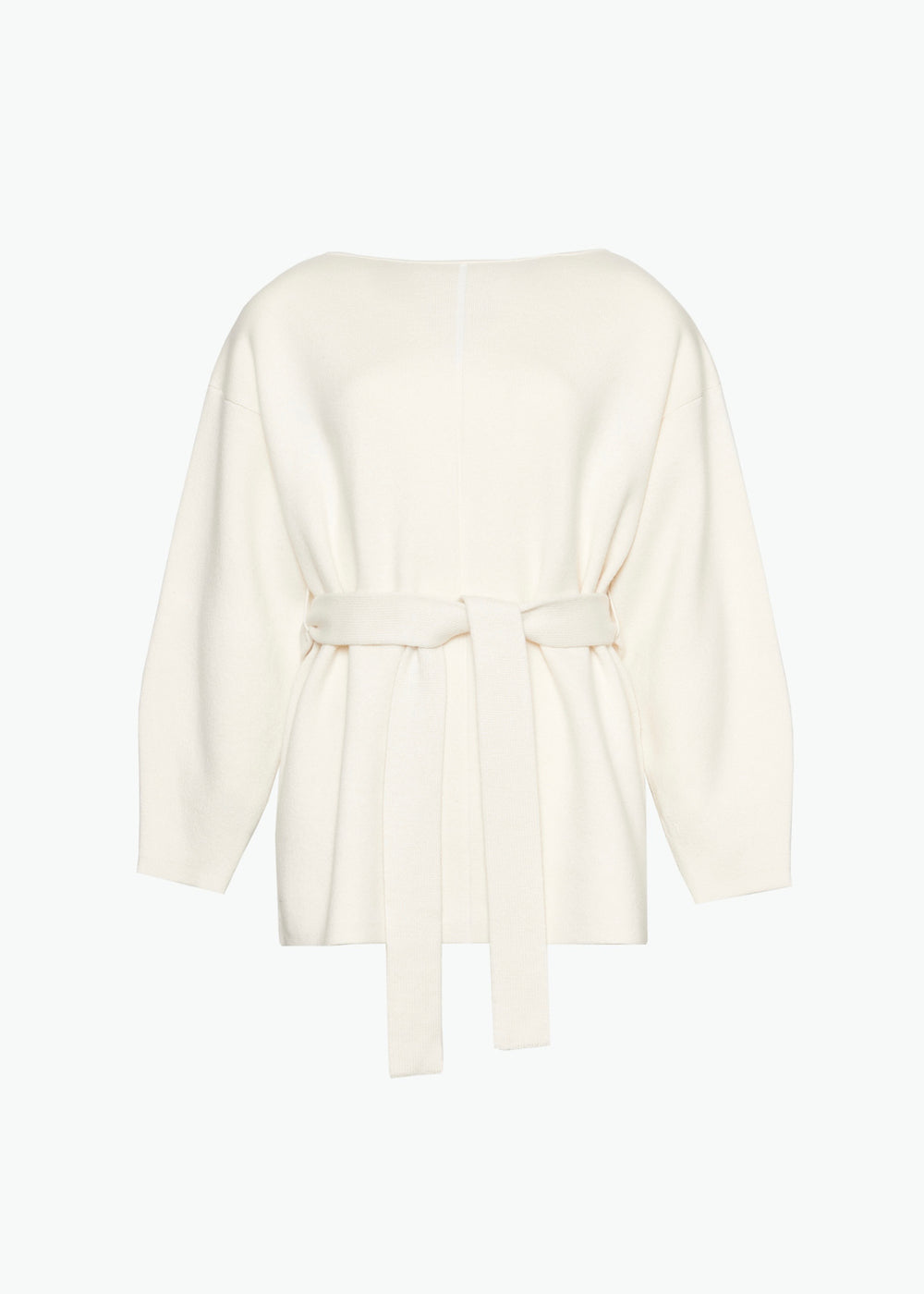 Belted Sweater in Wool Cashmere - Ivory - CO