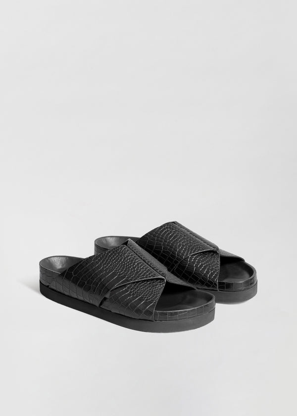 Slide Sandal in Embossed Leather - CO Collections