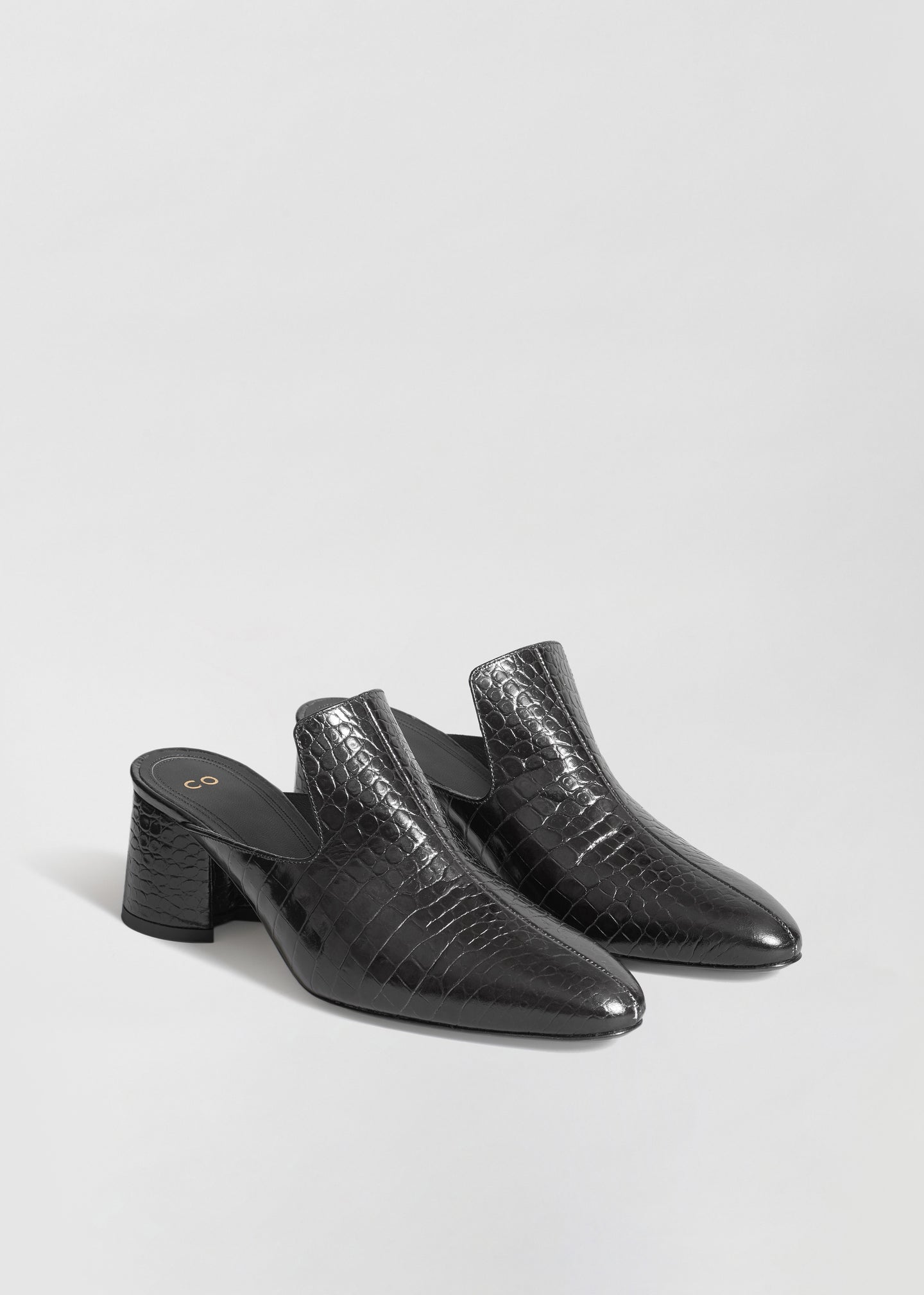 Mule in Embossed Leather - Black - CO