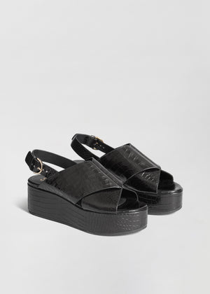 Platform Sandal in Embossed Leather - Black - Co Collections