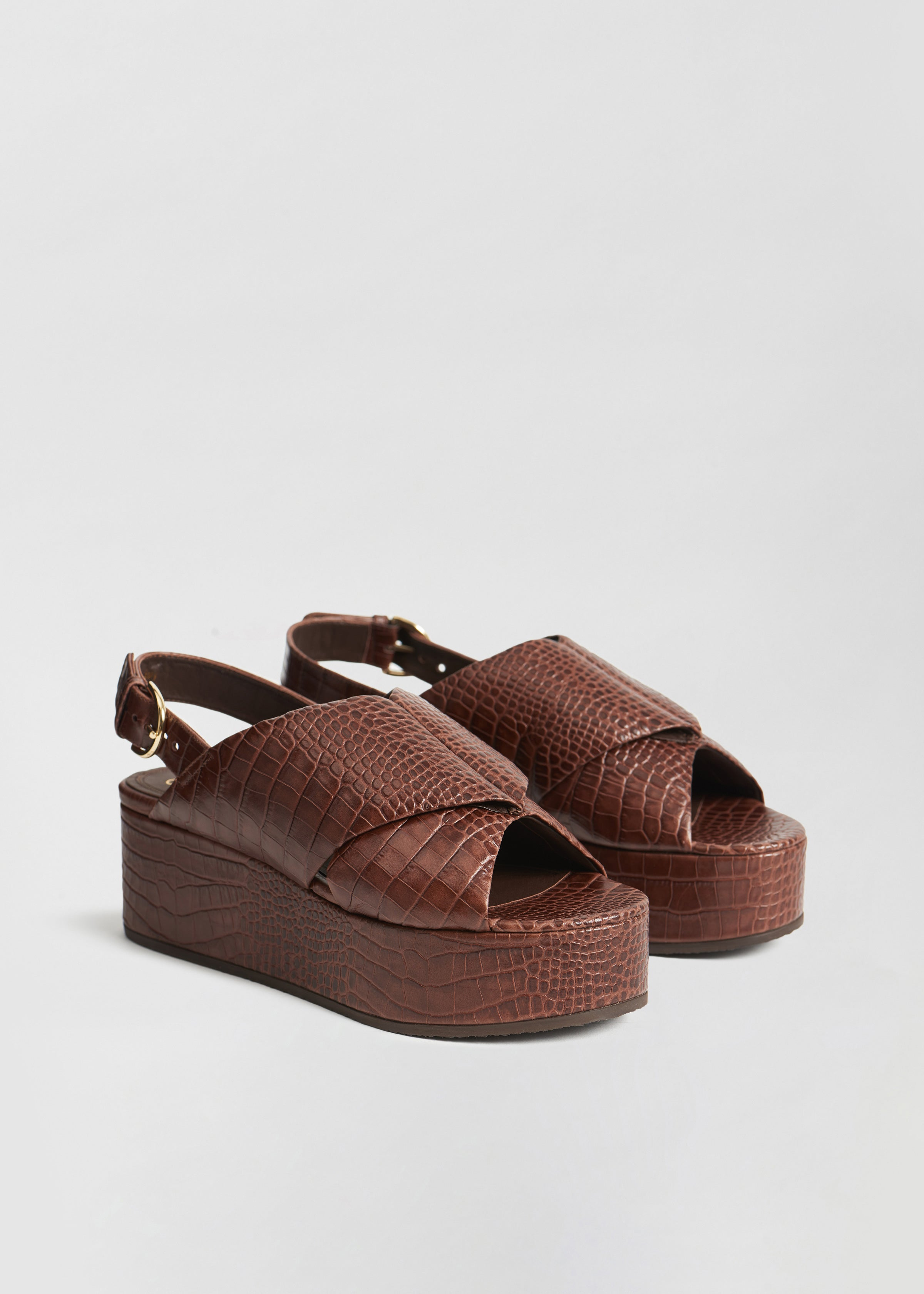 Platform Sandal in Embossed Leather