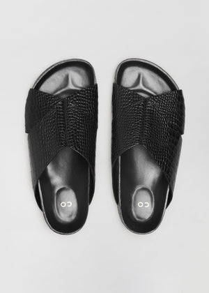 Slide Sandal in Embossed Leather - Black - Co Collections