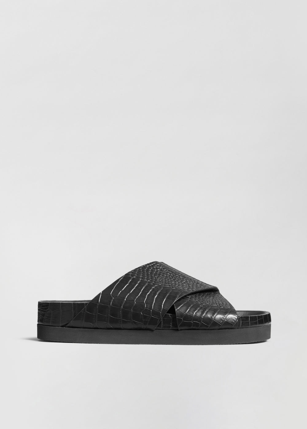 Slide Sandal in Embossed Leather - Black - CO