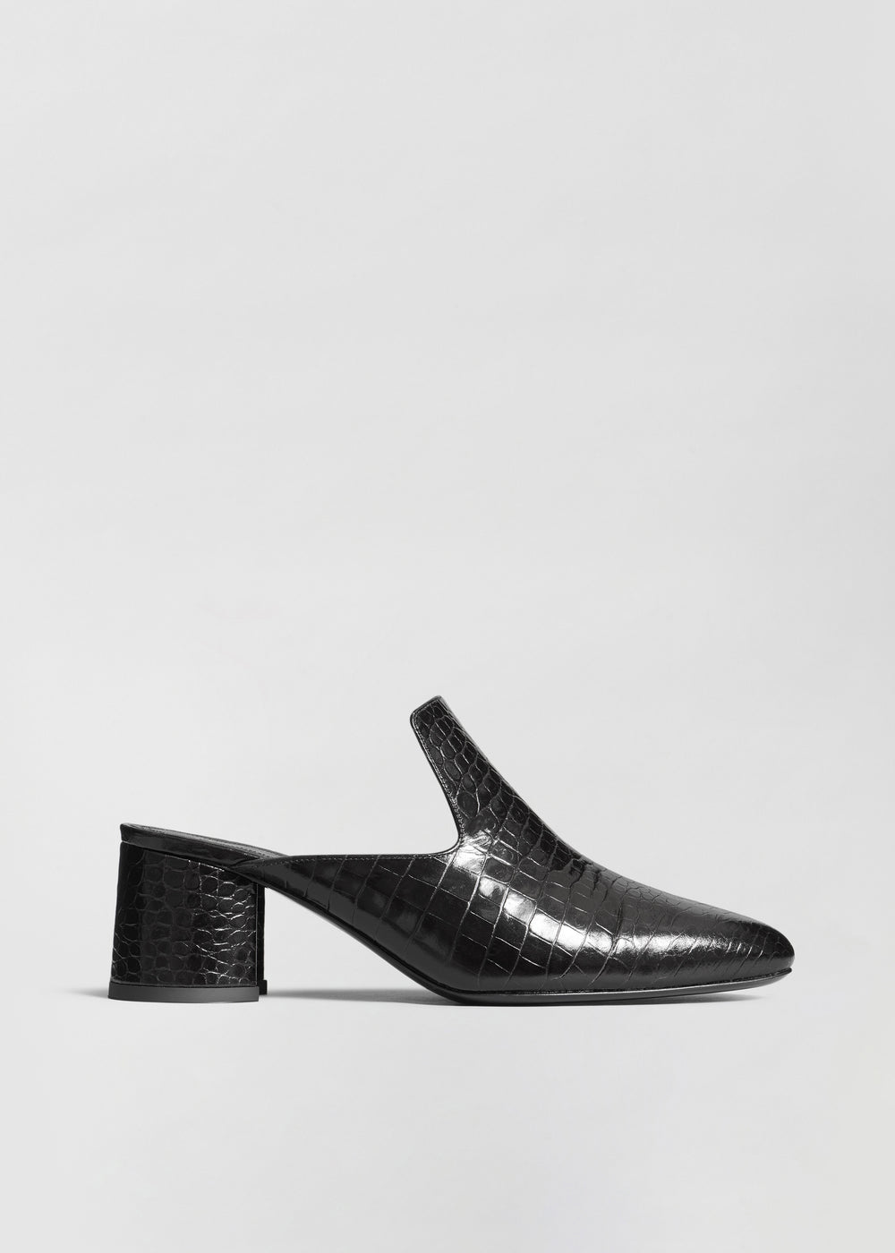 Mule in Embossed Leather - Black - CO Collections