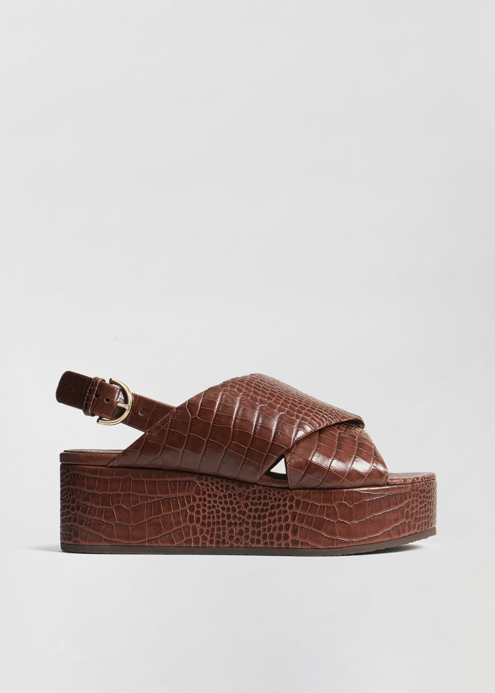 Platform Sandal in Embossed Leather - Dark Brown - CO Collections