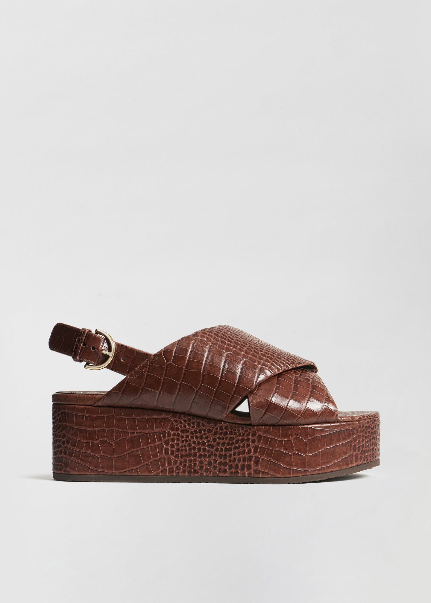 Platform Sandal in Embossed Leather - Dark Brown - CO