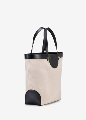 Collector Tote in Linen and Leather - Co Collections