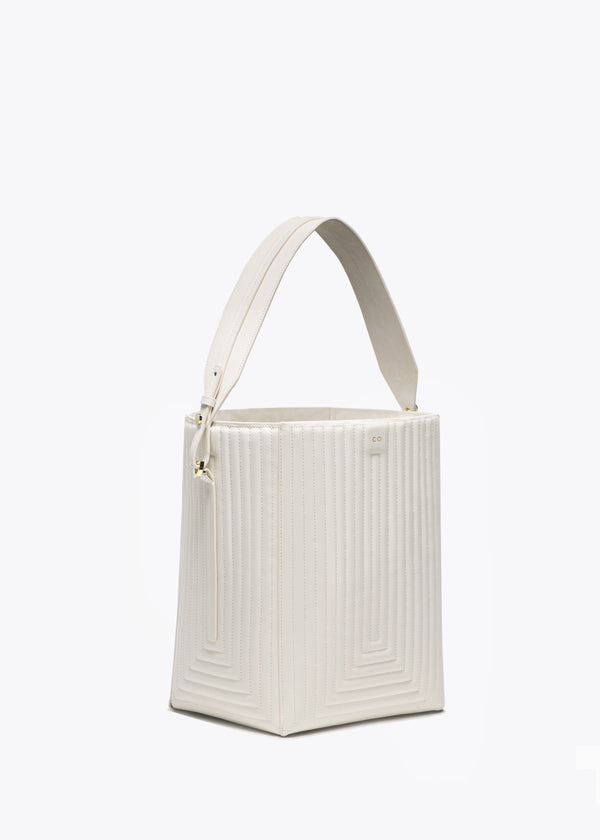 Bucket Bag in Matlasse Leather - Ivory - CO Collections