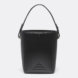 Bucket Bag in Black Matlasse Leather - CO