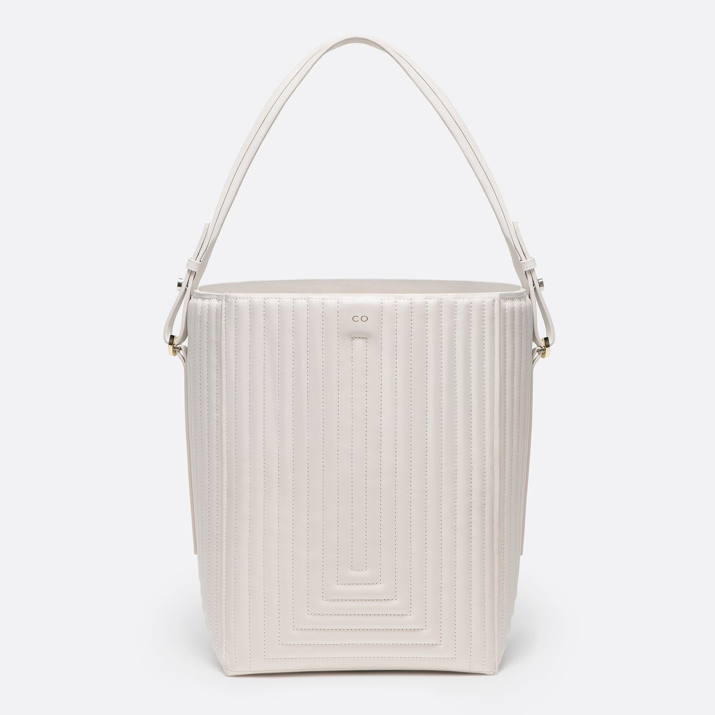 Bucket Bag in ivory matlasse leather - CO