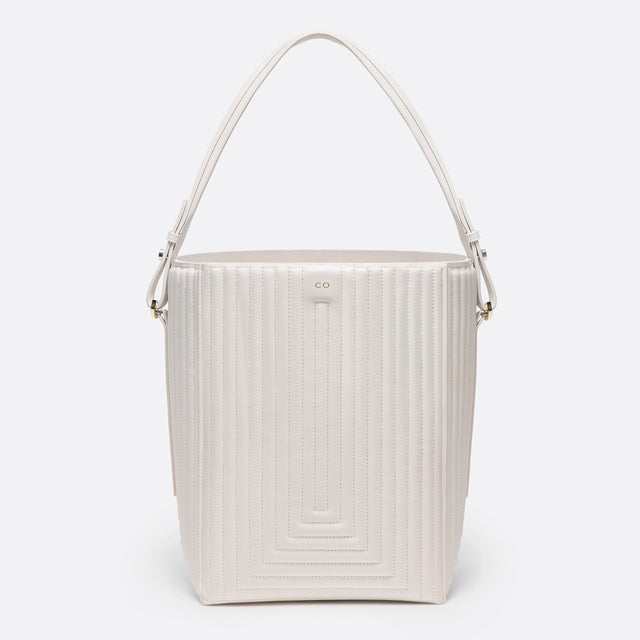 CO - Bucket Bag in ivory matlasse leather