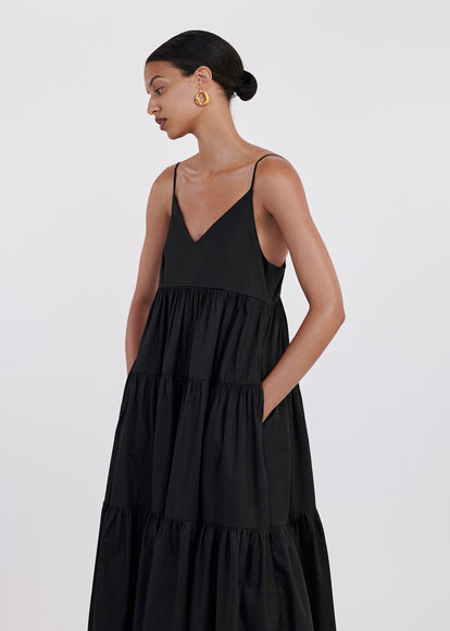 V-Neck Tiered Dress In Cotton Sateen - Black - CO
