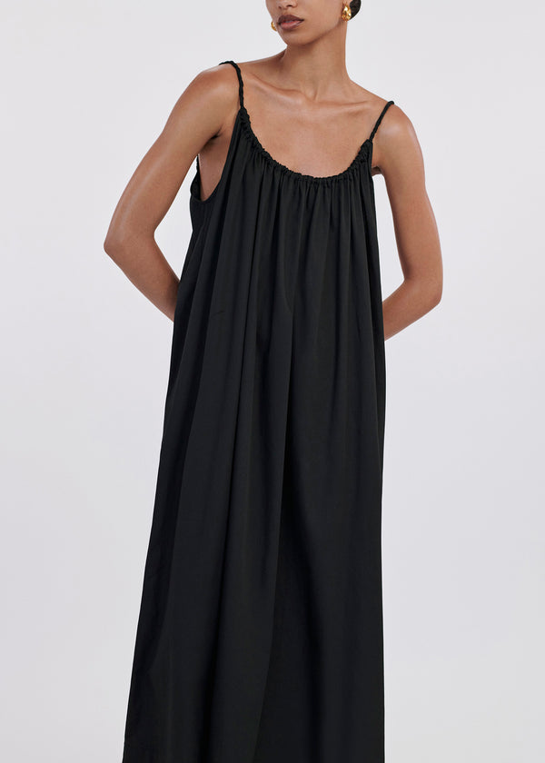 Shoulder Tie Ruched Dress In Cotton Sateen - Black - CO
