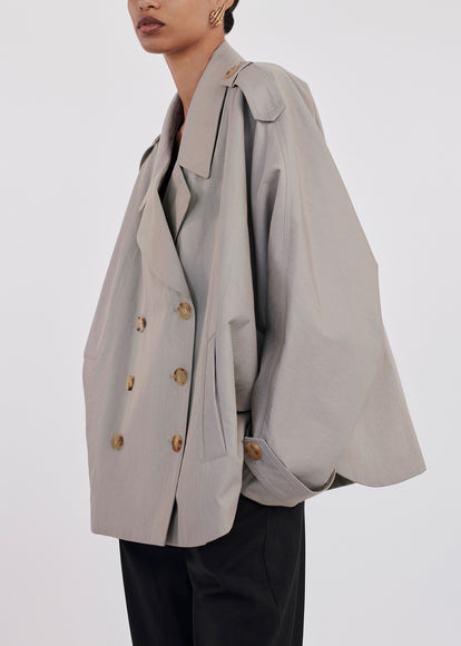 Dolman Short Trench Coat In Twill - Dove Grey - CO