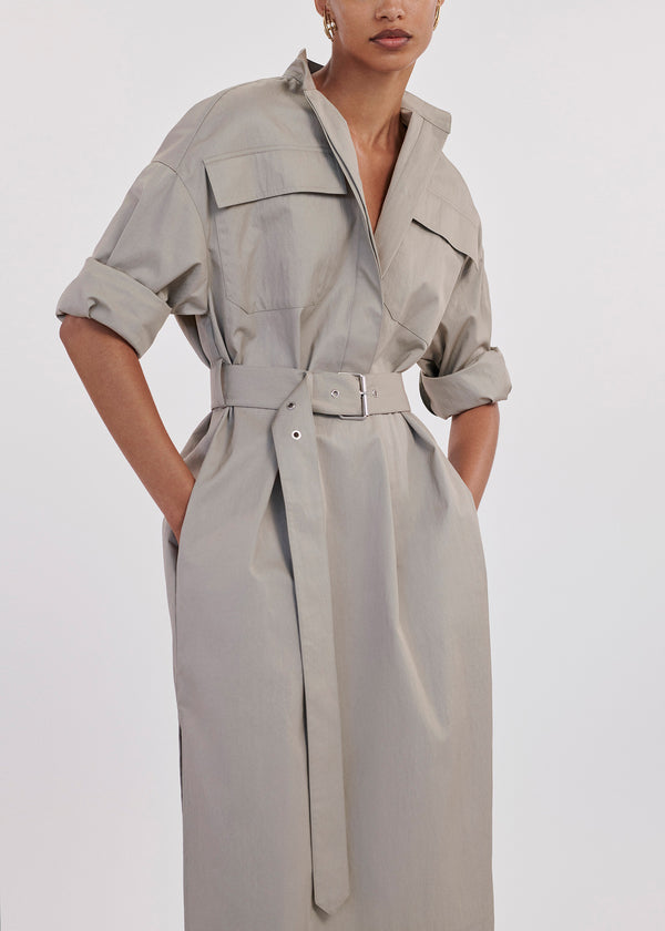 Utilitarian Belted Dress In Twill - Dove Grey - CO